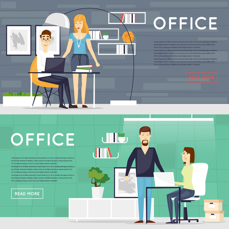 business space: Business cartoon characters. People talking and working at the computers. Office workplace interior. Co working center. Open space. Room to work and study. Banners.