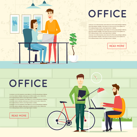 co: Business cartoon characters. People talking and working at the computers. Office workplace interior. Co working center. Open space. Room to work and study. Banners.