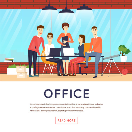Business cartoon characters. People talking and working at the computers. Office workplace interior. Co working center. Open space. Room to work and study. Banners.
