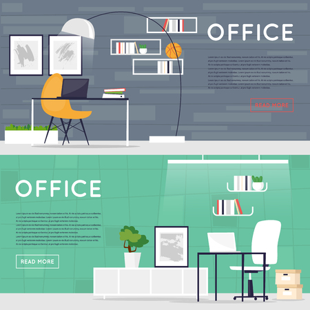 business space: Office interior. Business, designer work space. Working Place. Co working. Open space.