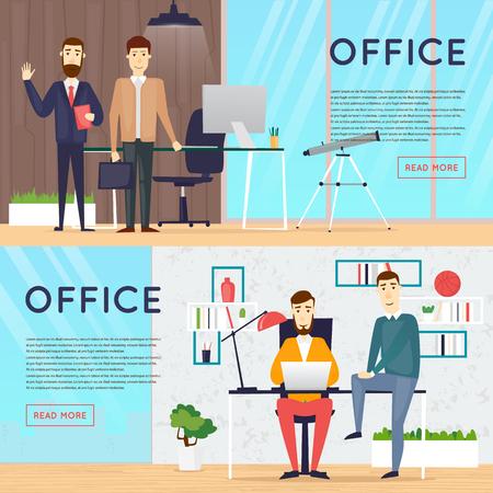 Business-Comic-Figuren. Die Menschen reden und an den Computern arbeiten. Büroarbeitsplatz Innenraum. Co-Bearbeitungszentrum. Freifläche. Raum zu arbeiten und zu studieren. Banner. Vektorgrafik