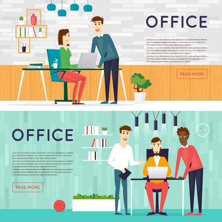 Beeldverhaal karakters. Mensen praten en werken op de computers. Office werkplek interieur. Meewerkende centrum. Open ruimte. Ruimte om te werken en te studeren. Banners.