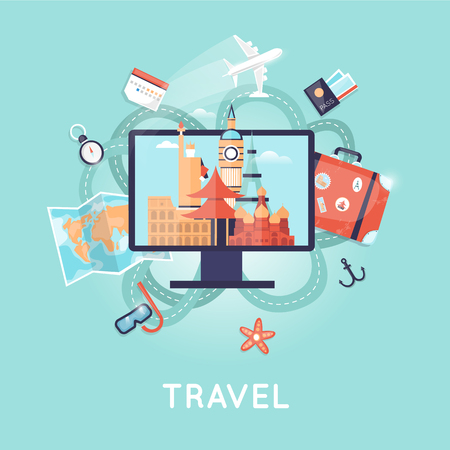 vacation time: World Travel Russia, USA, Japan, France, England, Italy. Planning summer vacations. Search tour to the Internet, summer holiday, travel suitcase, summer vacation, time to travel, travel-ling on holiday journey. Tourism and vacation theme.  Flat design vec