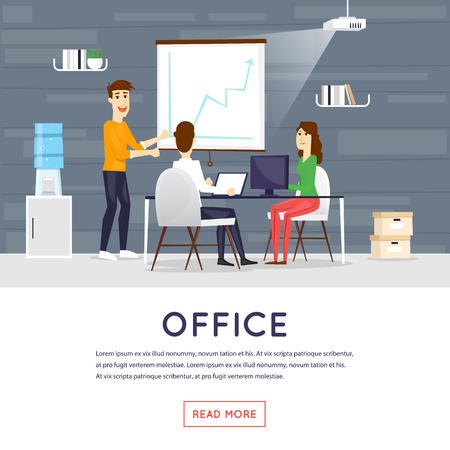 business space: Business cartoon characters. People talking and working at the computers. Office workplace interior. Co working center. Open space. Room to work and study. Banners. Flat design vector illustration.