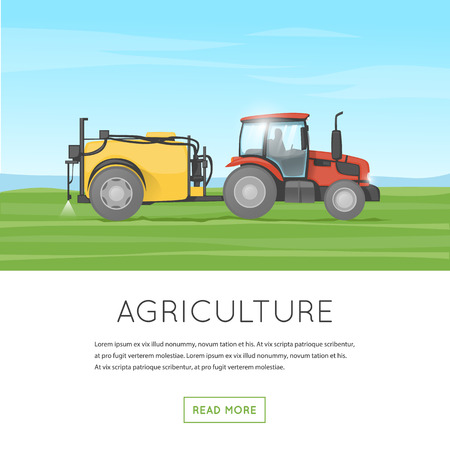green fields: Tractor watering field. Agricultural vehicles. Harvesting. Farm. Processes the earth. Flat design vector illustration.