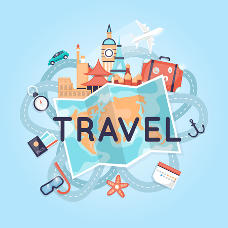 World Travel Russia, USA, Japan, France, England, Italy. Planning summer vacations. Tourism and vacation theme. Flat design vector illustration. Stock Illustratie
