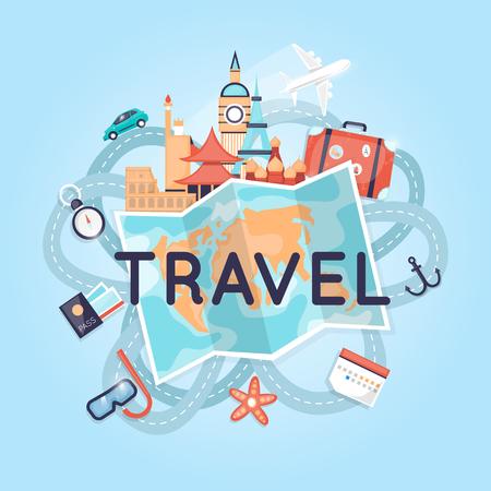 World Travel Rusland, de VS, Japan, Frankrijk, Engeland, Italië. De planning van de zomervakanties. Toerisme en vakantie thema. Platte ontwerp vector illustratie.
