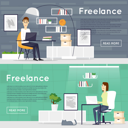 desktop computer: Freelance, working at home, office, work. Banners. Flat vector illustration.