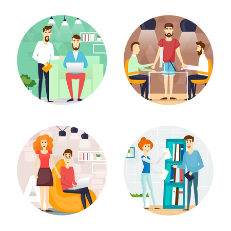 to place: Business cartoon characters. People talking and working at the computers. Office workplace interior. Co working center. Open space. Room to work and study. Composition in lap.  Flat design vector illustration.