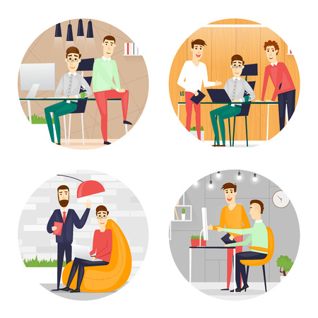 desktop computer: Business cartoon characters. People talking and working at the computers. Office workplace interior. Co working center. Open space. Room to work and study. Composition in lap.  Flat design vector illustration.