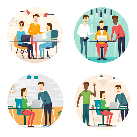 co: Business cartoon characters. People talking and working at the computers. Office workplace interior. Co working center. Open space. Room to work and study. Composition in lap.  Flat design vector illustration.