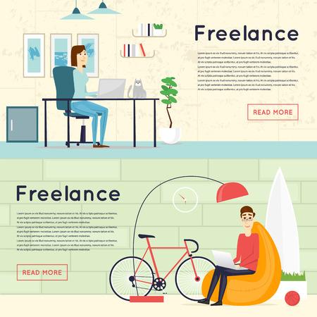 Freelance, thuis werken, kantoor, werk. Banners. Flat vector illustratie.