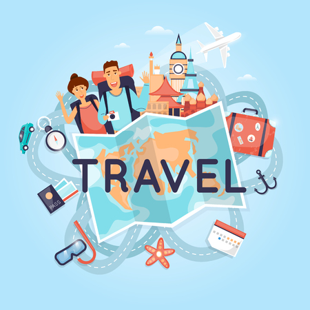 tours: Two young tourists on vacation. Character design. World Travel. Planning summer adventure. Holiday. Flat design vector illustration.