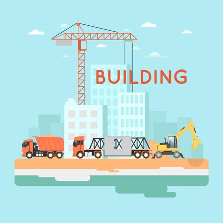 Construire une maison, réparer les travaux. Immobilier. Machines de construction. Icônes plats vector illustration. Vecteurs