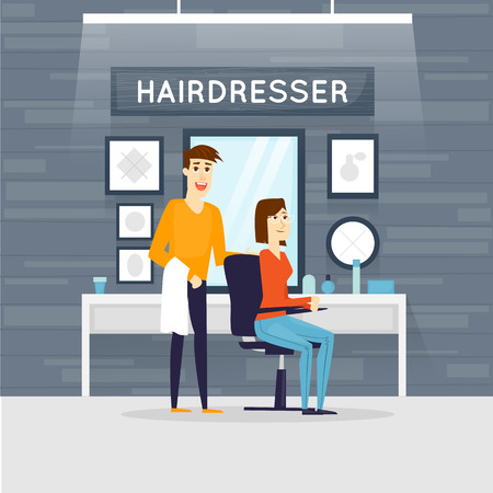 salon: Barbershop interior, stylish hair salon or barber shop. Hairdresser and customer. Cutting, styling, washing, hair dryer. Flat design vector illustrations. Illustration