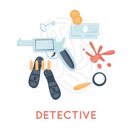 crime scene: Detective and icon set elements. Crime scene, revolver, investigation, prosecution, murder, theft. Top view. Flat design vector.