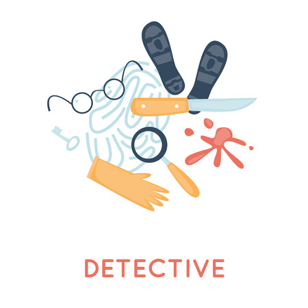 Detective and icon set elements. Crime scene, revolver, investigation, prosecution, murder, theft. Top view. Flat design vector.