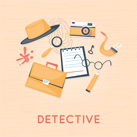 crime scene: Detective and icon set elements. smoking pipe, detective, crime scene, revolver, crime Flat design vector.