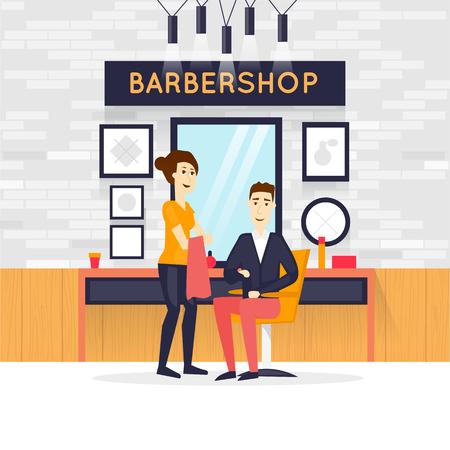 stylish hair: Barbershop interior, stylish hair salon or barber shop. Hairdresser and customer. Cutting, styling, washing, hair dryer. Flat design vector illustrations. Illustration