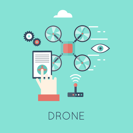 new technologies: Drone with a camera, shipping, surveillance, control. New technologies. Flat design vector illustrations.