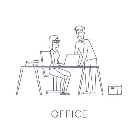 people in line: Business characters thin line. Co working people, meeting, teamwork, collaboration and discussion, conference table, brainstorm. Workplace. Office life. Flat design vector illustration.