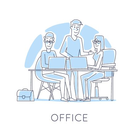 line work: Business characters thin line. Co working people, meeting, teamwork, collaboration and discussion, conference table, brainstorm. Workplace. Office life. Flat design vector illustration.