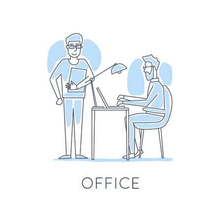 co: Business characters thin line. Co working people, meeting, teamwork, collaboration and discussion, conference table, brainstorm. Workplace. Office life. Flat design vector illustration.