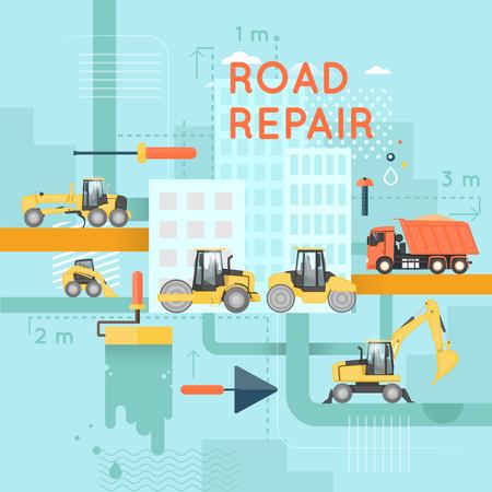 tractor warning sign: Road construction. Excavator, roller, truck. Cityscape. Flat design vector illustrations.