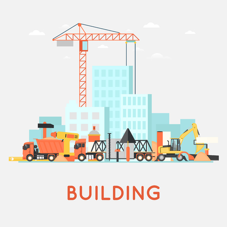 Building a house, repair work. Real estate. Construction machinery. Flat icons vector illustration.