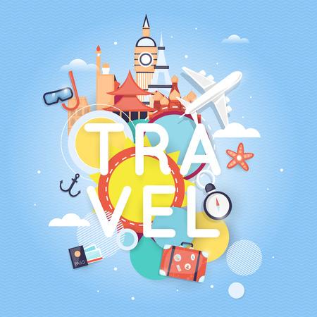 世界旅行。夏の休暇を計画します。夏の休日。観光や休暇のテーマ。フラットなデザインのベクトル図です。材料設計。