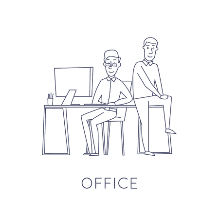 conference table: Business characters thin line. Co working people, meeting, teamwork, collaboration and discussion, conference table, brainstorm. Workplace. Office life. Flat design vector illustration.
