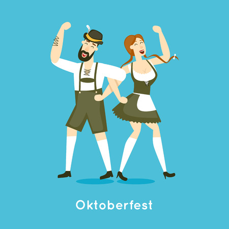 german tradition: Oktoberfest characters. Bavarian man and woman dancing together. Folk costumes. Poster. Flat design vector illustration.