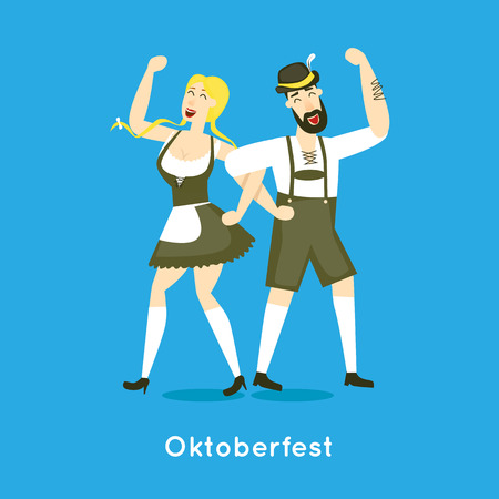 Oktoberfest characters. Bavarian man and woman dancing together. Folk costumes. Poster. Flat design vector illustration.