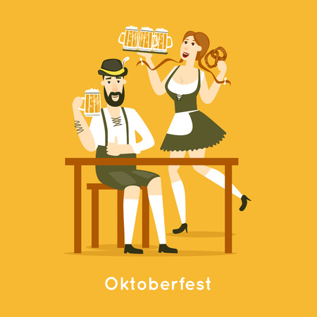 stein: Oktoberfest characters. Bavarian man and woman dancing together. Folk costumes. Poster. Flat design vector illustration.