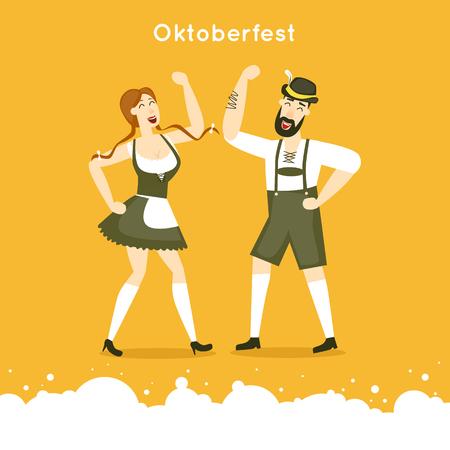 german beer: Oktoberfest characters. Bavarian man and woman dancing together. Folk costumes. Poster. Flat design vector illustration.