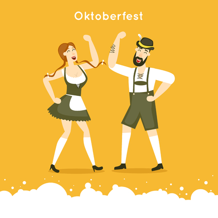 hombre tomando cerveza: personajes de Oktoberfest. Baviera hombre y una mujer bailando juntos. trajes típicos. Póster. ilustración vectorial diseño plano.