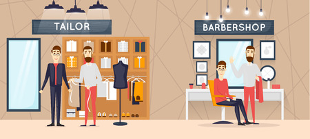 cloths: Barbershop interior, stylish hair salon or barber shop. Hairdresser and customer. Cutting, styling, washing, hair dryer. Clothing store of mens cloths fashion. Flat design vector illustrations.