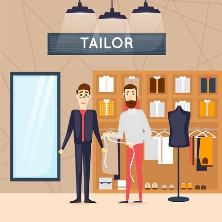 tailor shop: Fashion shop man. Tailor. Shop interior. Flat design vector illustrations. Illustration