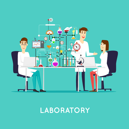 Scientist working in laboratory room. Workspace and workplace. Medical Laboratory. Scientist male and female. Flat design vector illustration science and technology. Education. Flat design.