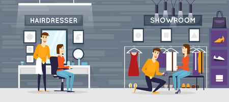 fashion design: Woman at the hairdresser salon, interior with customer. Hair style, hair cut. Fashion clothing store. Shop interior. Lo-thing on hangers and shelves. Flat design vector illustration. Illustration