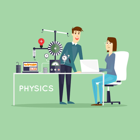 female scientist: Physics Scientist working in laboratory. Male and female. Education. School, College. Flat design vector illustrations. Illustration