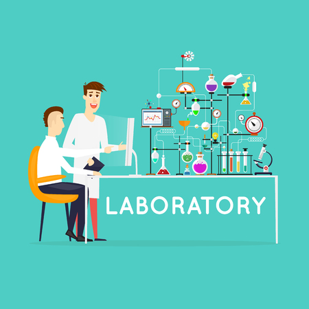science education: Scientist working in laboratory room. Workspace and workplace. Medical Laboratory. Scientist male. Flat design vector illustration science and technology. Education. Flat design. Illustration