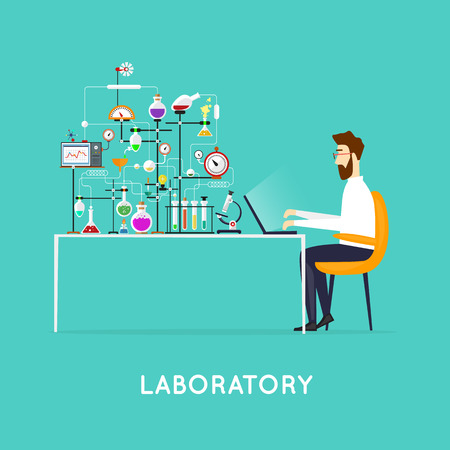 Scientist working in laboratory room. Workspace and workplace. Medical Laboratory. Scientist male. Flat design vector illustration science and technology. Education. Flat design. Illustration