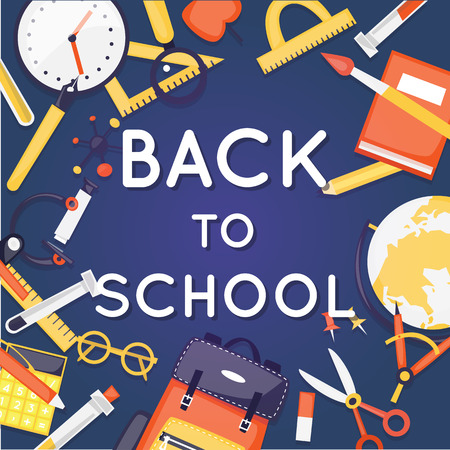 Back to school. School supplies calculator, magnifier, eraser, pen, brush, scissors, ruler, backpack, globe. Poster. Flat design vector illustration.