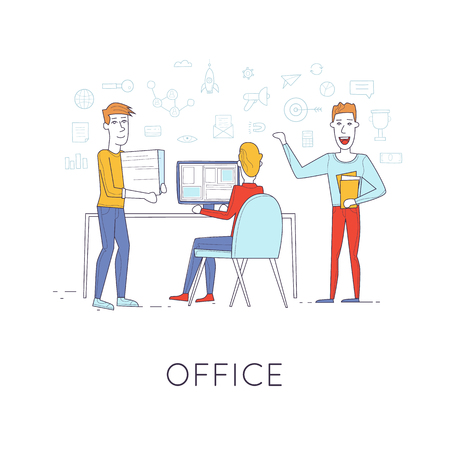 business life line: Business characters thin line. Co working people, meeting, teamwork, collaboration and discussion, presentation of the project, brainstorm. Workplace. Office life. Flat design vector illustration. Illustration