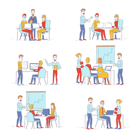 Business characters thin line. Co working people, meeting, teamwork, collaboration and discussion, presentation of the project, brainstorm. Workplace. Office life. Flat design vector illustration. Illustration