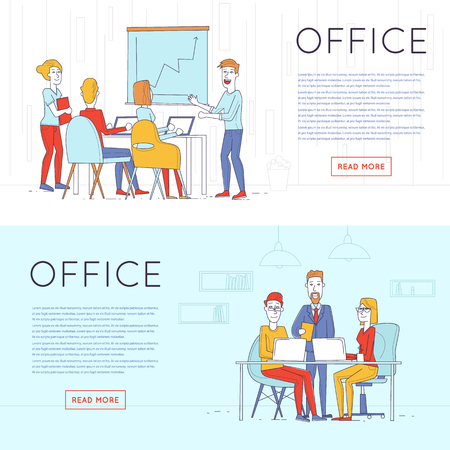 Business characters thin line. Co working people, meeting, teamwork, collaboration and discussion, presentation of the project, brainstorm. Workplace. Office life. Flat design vector illustration.