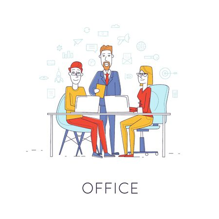 office presentation: Business characters thin line. Co working people, meeting, teamwork, collaboration and discussion, presentation of the project, brainstorm. Workplace. Office life. Flat design vector illustration. Illustration