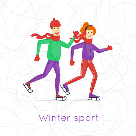 indoor sport: Winter sports. Boy and girl holding hands and skating. Ice background. Characters. Flat vector design. Illustration