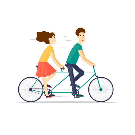 tandem: Couple riding tandem bicycle isolated. Walking, sports, traveling. Flat design vector illustration. Illustration